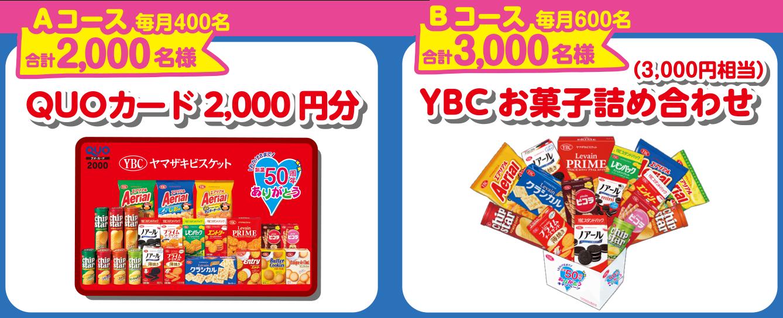 Aコース毎月400名合計2000名様                             QUOカード2000円分 Bコース毎月600名合計3000名様(3000円相当) YBCお菓子詰め合わせ