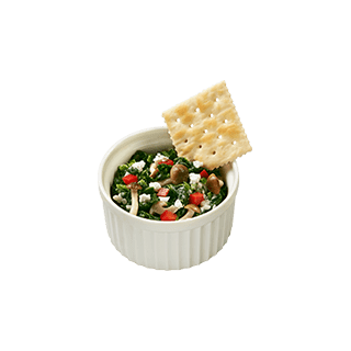 きのことチーズの スピナッチソース